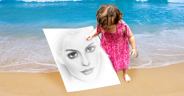 Let's show your new drawing portrait on the beach